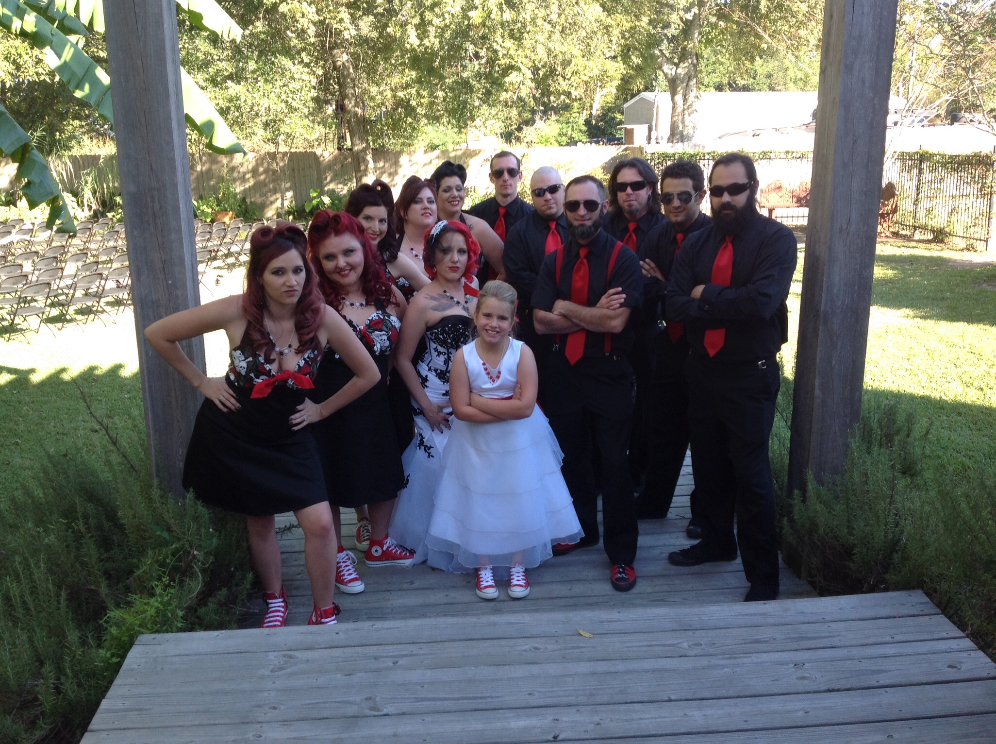 Ashley and Andrew wedding party photo for Halloween wedding at Magnolia Court Reception Hall.