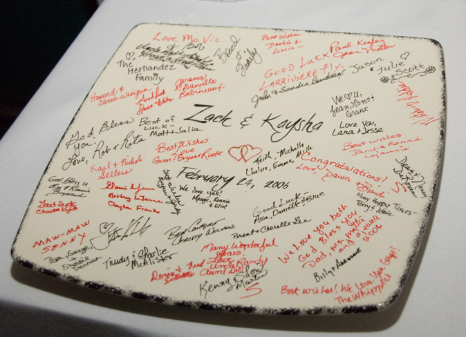 A platter used afor the wedding guests to sign.
