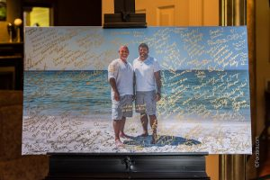 A couple used their photo for guests to sign as a guestbook keepsake.