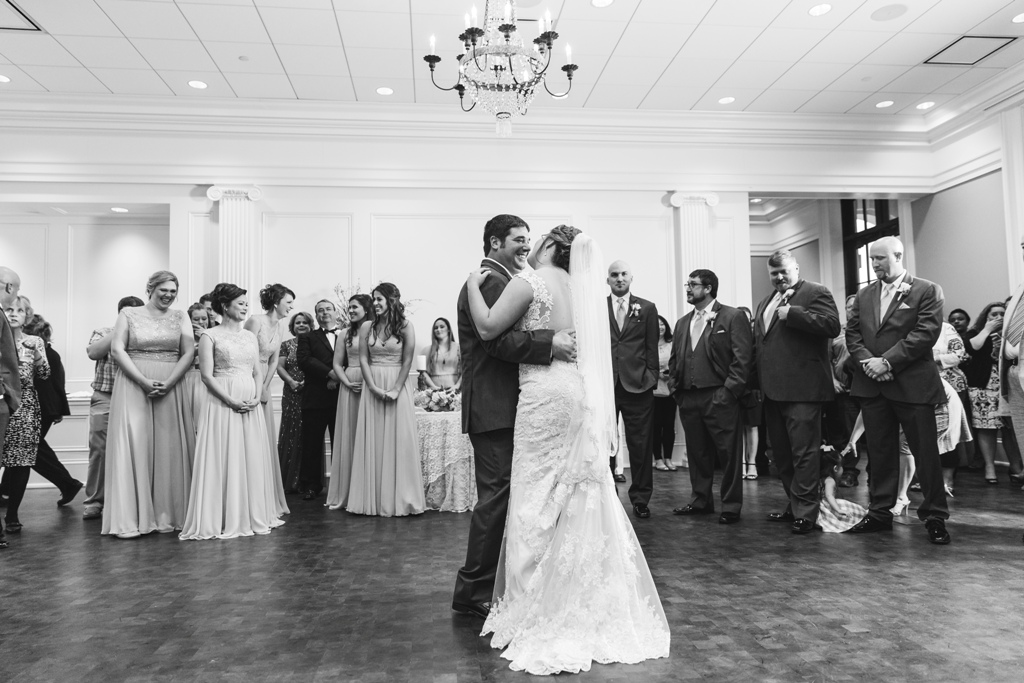 The bride and grooms first dance at the wedding venue, The Majestic Hall of Walnut Grove, located in Lake Charles, Louisiana.