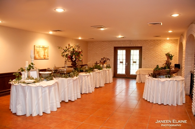 A setup of the catering tables at The Manor, a wedding venue in New Iberia, Louisiana.