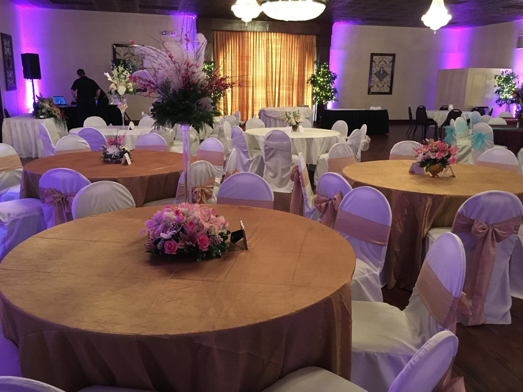 Wedding reception setup at the wedding venue called Reeves Uptown Catering located in Lake Charles, Louisiana.