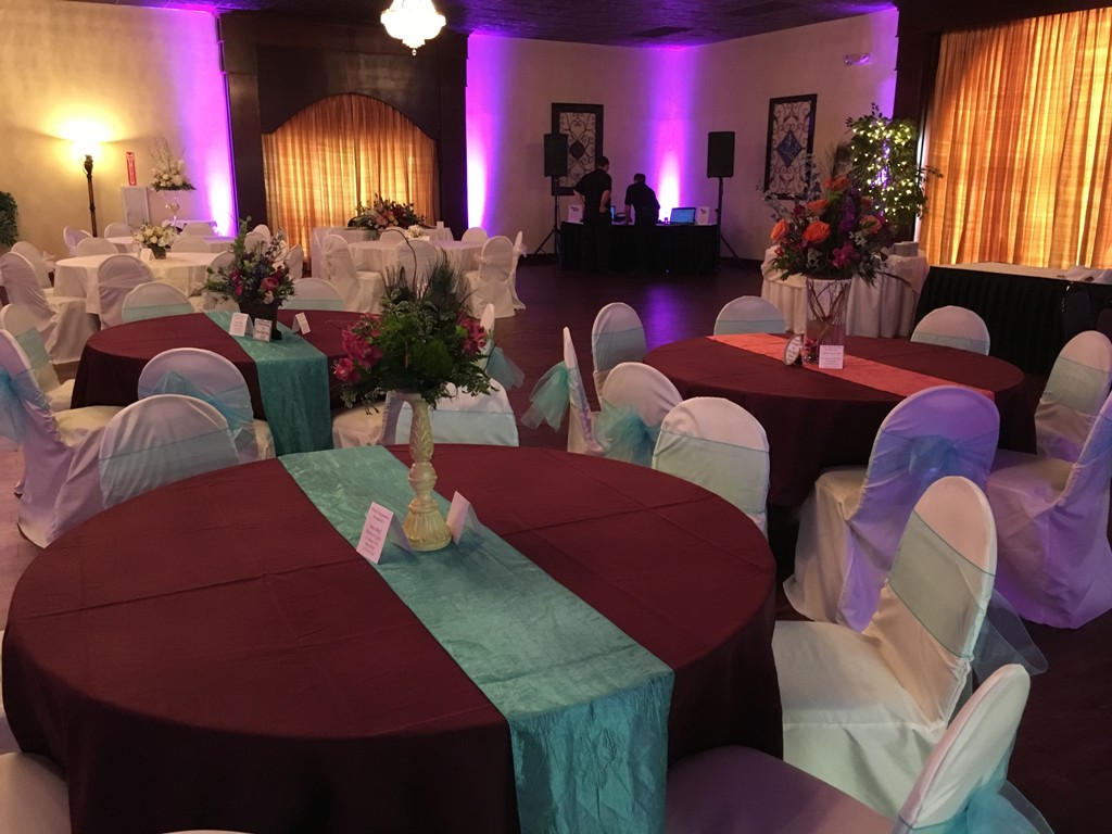 A wedding reception setup at the wedding venue, Reeves Uptown Catering located in Lake Charles, Louisiana.