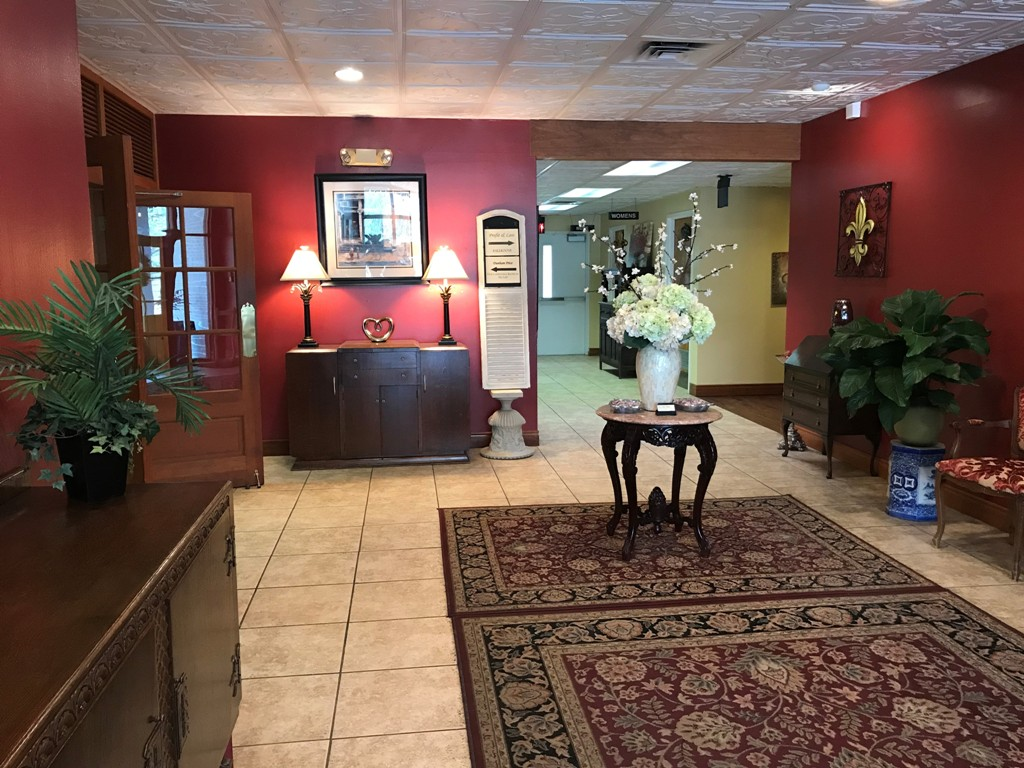 The foyer at the entrance to the wedding venue called Reeves Uptown Catering located in Lake Charles, Louisiana.