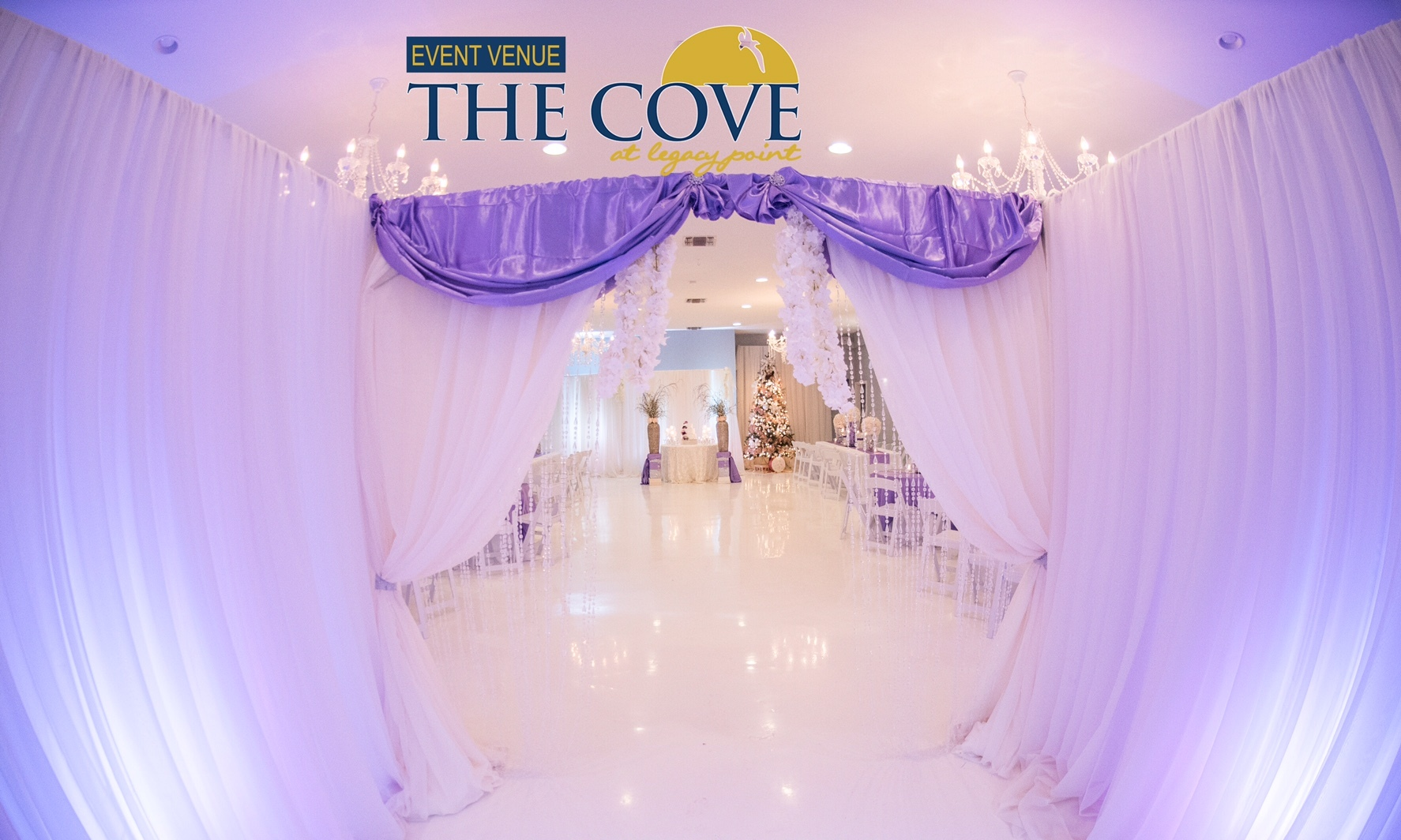 A wedding reception setup at the wedding venue The Cove located in Thibodaux, Louisiana near Morgan City, Louisiana.