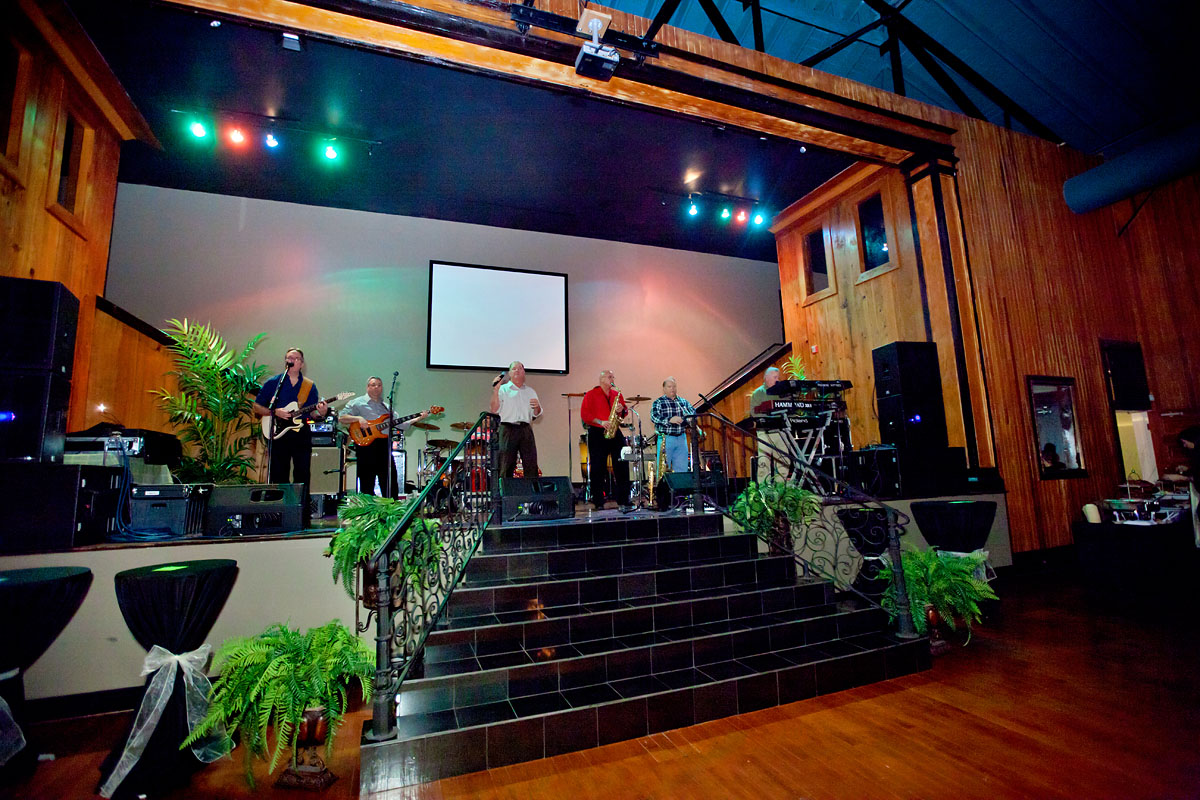 A large stage at The Madison, an events center, perfect for bands and DJ's.