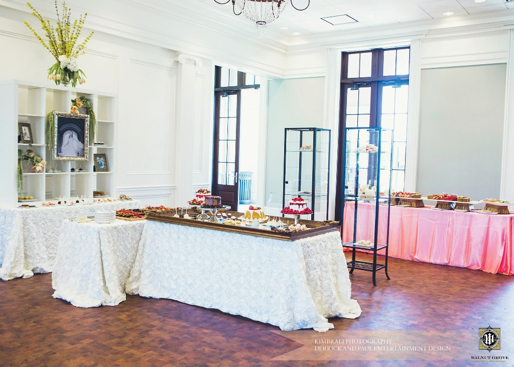 A wedding reception food tables setup at The Majestic Hall of Walnut Grove located in Lake Charles, Louisana