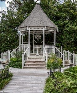 The beautiful outdoor wedding gazebo with gardens at Sunny Meade located in Lafayette, Louisiana.