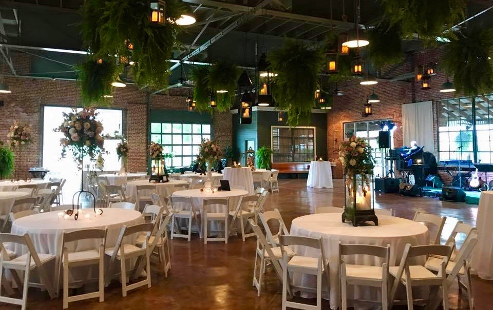 Beautiful wedding venue, The Magdalen Place, is setup up for a wedding reception in Abbeville, Louisiana near Lafayette, Louisiana.