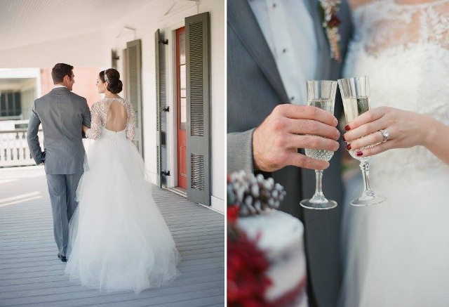 A bride and groom on the outdoor deck at the Louisiana wedding venue, Maison de Tours, located in St. Martinville, near Lafayette.