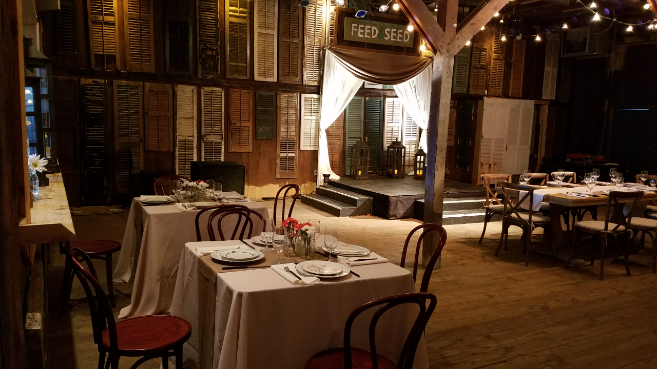 A wedding venue located in Lafayette, LA, Feed N Seed, a unique barn, rustic wedding venue set up for a wedding reception.