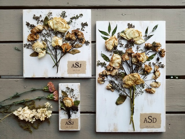 A variety of wedding items preserved by wedding vendor, Petal Press Decor, located in Lafayette, Louisiana.