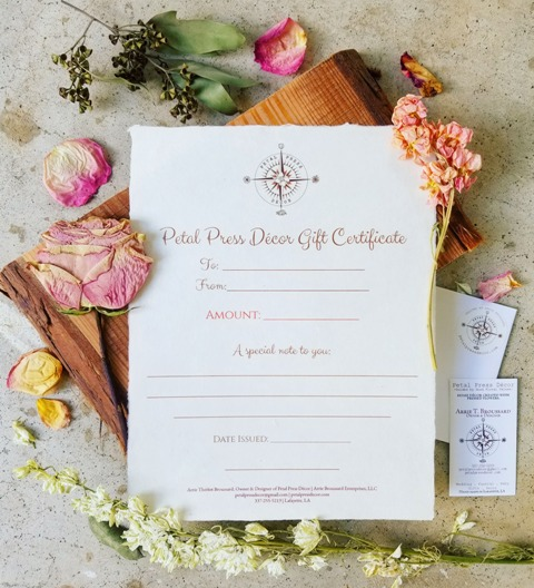 Wedding gifts made by wedding vendor, Petal Press Decor, located near lafayette, Louisiana.