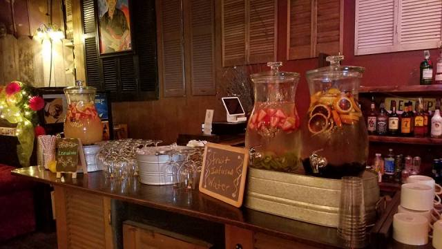 The bar setup at the barn wedding venue, Feed N Seed, located near Lafayette, La.