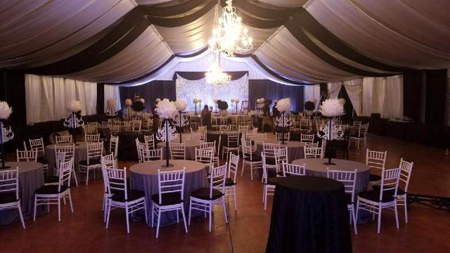 A black and white gala setup at the beautiful Louisiana wedding venue, The Victorian Plantation, located near Lafayette, in Broussard.
