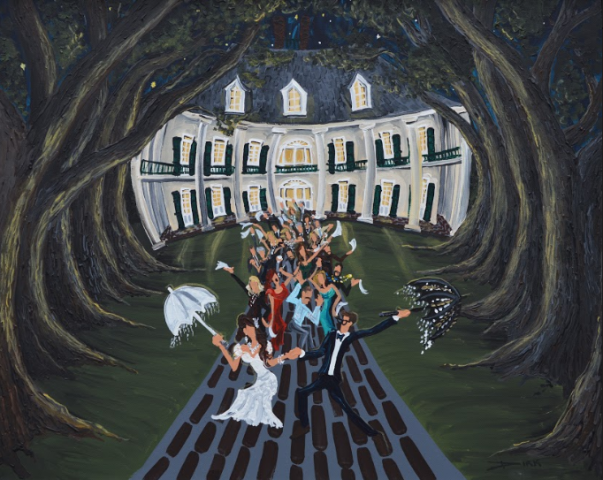 A live painting by Dirk Guidry at a wedding venue in Lafayette, Louisiana depicting the couple leaving the reception hall.