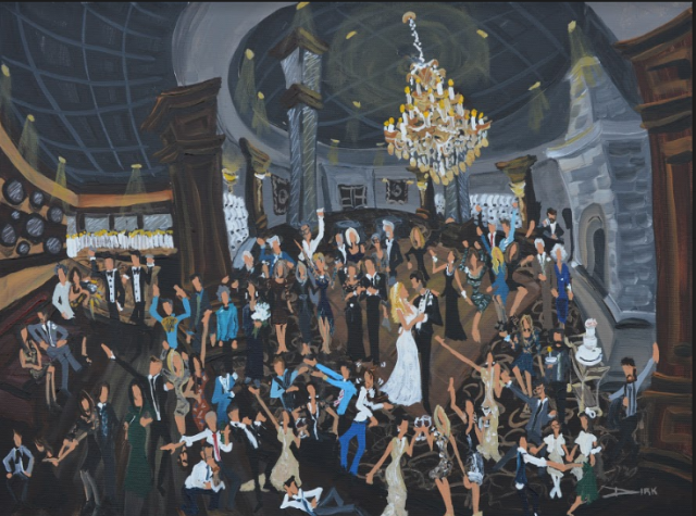 A painting for a wedding reception at a wedding venue near Lafayette, Louisiana by artist, Dirk Guidry.