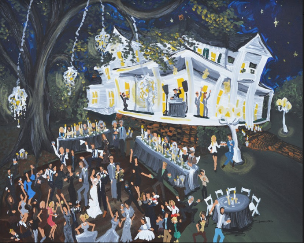 A live wedding painter near Lafayette, Louisiana wedding venue depicting a wedding reception a wedding venue near Lafayette, Lousiana, Dirk Guidry.
