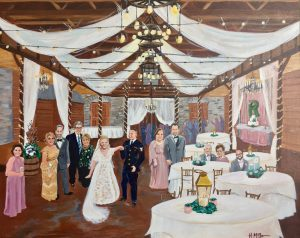 A photo of a wedding reception painted by Live Wedding Painter, Heather McNamara, located near Lafayette, Louisiana.