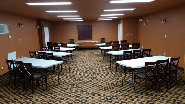 The intimate wedding or business venue, Best Western Plus Vermilion Suites, located in Lafayette, Louisiana, set up for a business meeting.