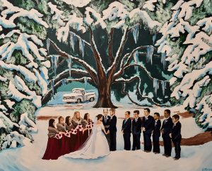 An outdoor wedding painting by Live Wedding Painter, Heather McNamara, located near Lafayette, Louisiana.