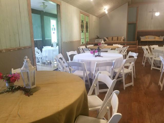 A wedding reception setup at the wedding venue located near Lafayette, Louisiana, Woodlawn Chapel.