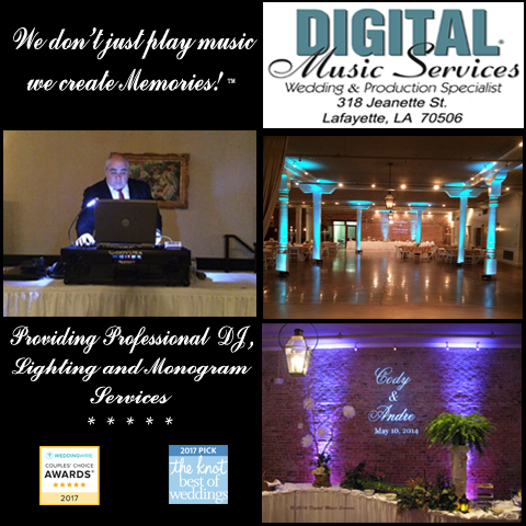 A photo of Wedding and Event DJ, Mike Schnauder, showing him, his uplighting, awards and the bride and grooms name in lights on the wall, located near Lafayette, LA.