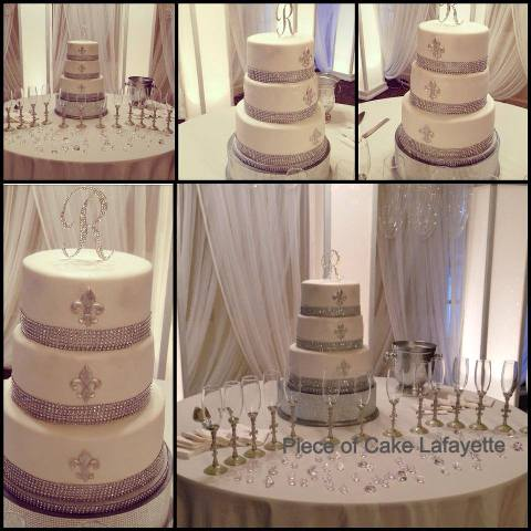 A set of wedding cake photos, made by Piece of Cake, a bakery located in Lafayette, LA.