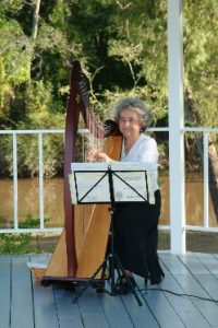 Photo of harpist, Bette Vidrine, located near Lafayette, Louisiana.