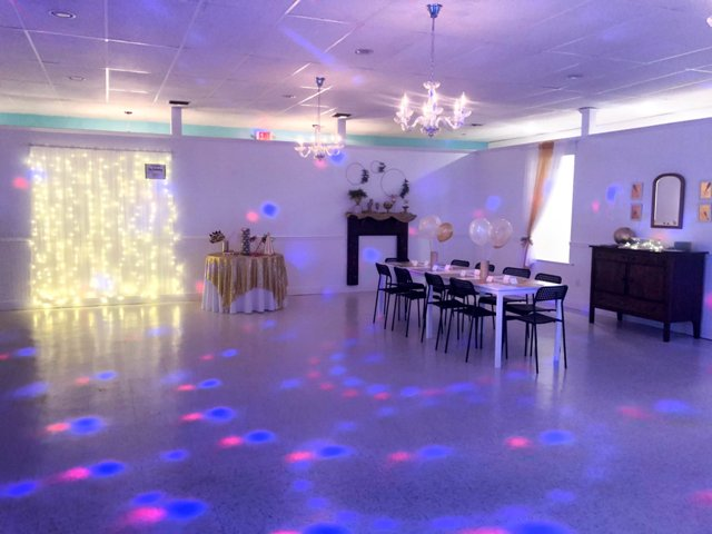 A setup for a party a the wedding venue, The Mulberry Tree, located near Lafayette, LA.