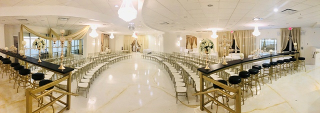 An indoor setup for a wedding at Dream Castle, a beautiful wedding venue located near Lafayette, LA.