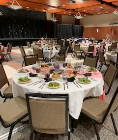 UL Lafayette Student Union set up for an event, this wedding and event facility is located in Lafayette, Louisiana.