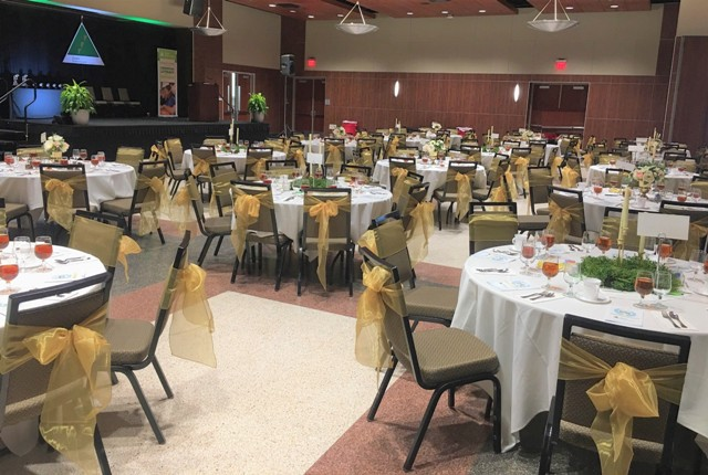 A wedding venue ballroom at UL Lafayette Student Union set up for a wedding reception, located in Lafayette, Louisiana.