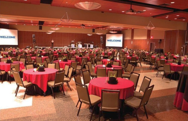A banquet setup at UL Lafayette Student Union, in one of their ballrooms for a business meeting, located in Lafayette, Louisiana.