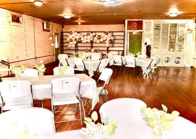 A setup for an intimate wedding at wedding venue, Bridge Studion 3010, located near Lafayette, Louisiana.