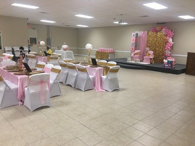 A setup for a bridal shower at a small venue located near Lafayette, Louisiana, Enterprise Business Center, located in Carencro, Louisiana.