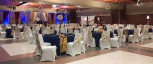 A wedding venue located in Lafayette, Louisiana on the UL Lafayette campus, decorated for a wedding reception.