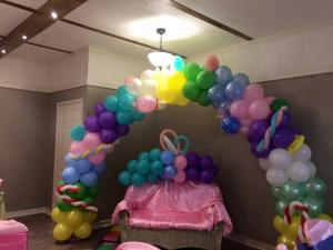 A balloon arch setup for a baby shoer at The Gathering Place of Carencro located near Lafayette, Louisiana.