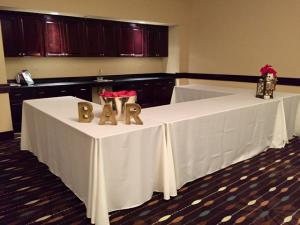 The bar setup at the wedding venue Hampton Inn New Iberia, Louisiana.