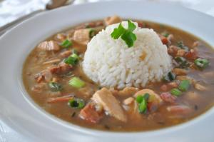 A delicious plate of Seafood Gumbo, prepared by Bon Temps Grill, a wedding catering company located near Lafayette, Louisiana.