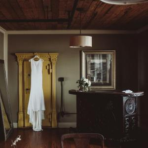 A beautiful bridal dressing suite at the wedding venue, The Crossing at Mervin Kahn, located in Rayne, Louisiana near Lafayette, Louisiana.