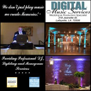 A photo of Mike Schnauder who is a DJ near Lafayette, Louisiana showing his DJ skills, uplighting and bride and groom names on the walls in lights.