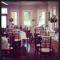 Beautiful wedding venue, Esprit de Coeur, shown with tables set up for a reception near lafayette louisiana.