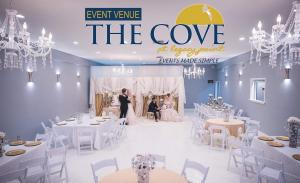 Elegant wedding venue setup for a wedding and reception at The Cove located in Thibodaux, Louisiana near Morgan City, Louisiana.