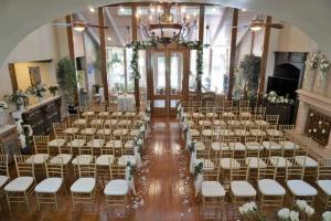 A beautiful indoor wedding setup at the elegant wedding venue Louisiana Cajun Mansion near Lafayette, Louisiana.