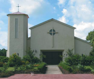 A front view of the beautiful wedding venue, L'Eglise, located near Lafayette, Louisiana.