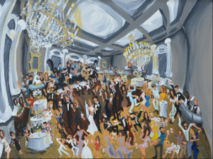 A live painting recreating a wedding reception at a wedding venue in Lafayette, Louisiana by artist Dirk Guidry.