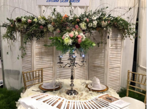 A wedding table setup by Lafayette, Louisiana florist, Posies by Paulie.