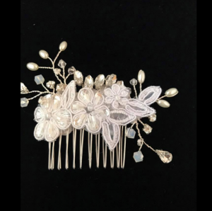 A wedding hair comb made by florist Posies by Paulie, located in Lafayette, Louisiana.