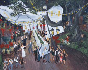 A photo of an outdoor wedding reception near a Lafayette, Louisiana wedding venue, by live wedding painter, Dirk Guidry.
